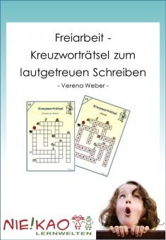 Freiarbeit - Kreuzworträtsel zum lautgetreuen Schreiben