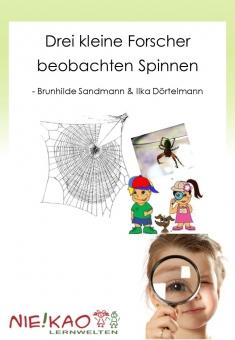Drei kleine Forscher beobachten Spinnen