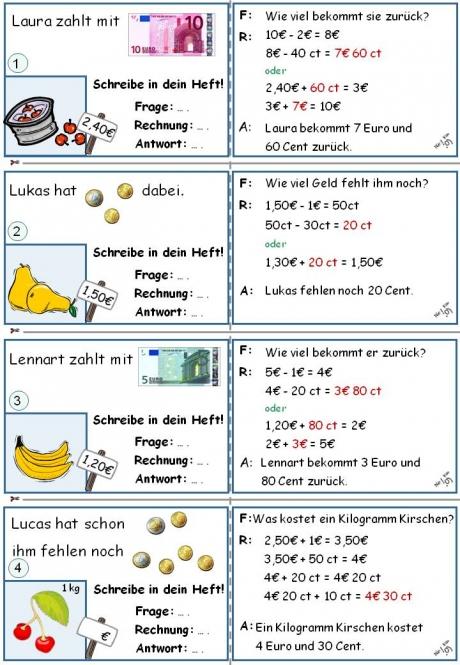 euro und cent grundschule arbeitsblätter