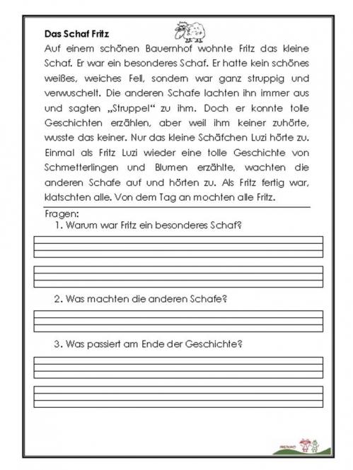 Leseverständnis 1 2 Klasse  Deutsch in der Volksschule