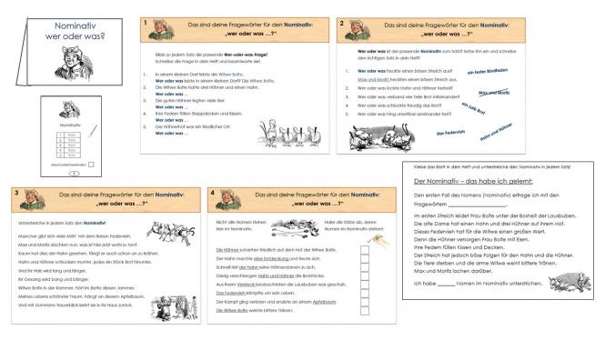 arbeitsblatt vorschule 187 die vier f228lle des nomens entwurf