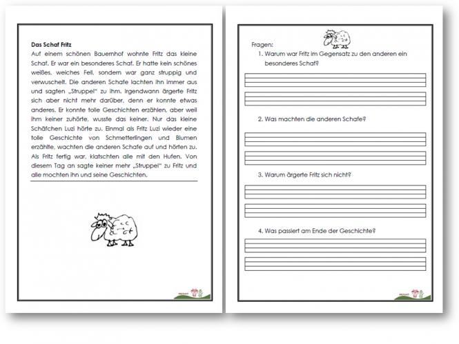 arbeitsblatt vorschule 187 lesetexte 1 klasse aufnahme