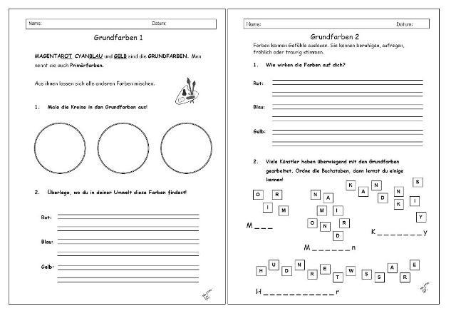 Arbeitsblatt Kunst Klasse 1 : Unterrichtsmaterial Übungsblätter für die grundschule