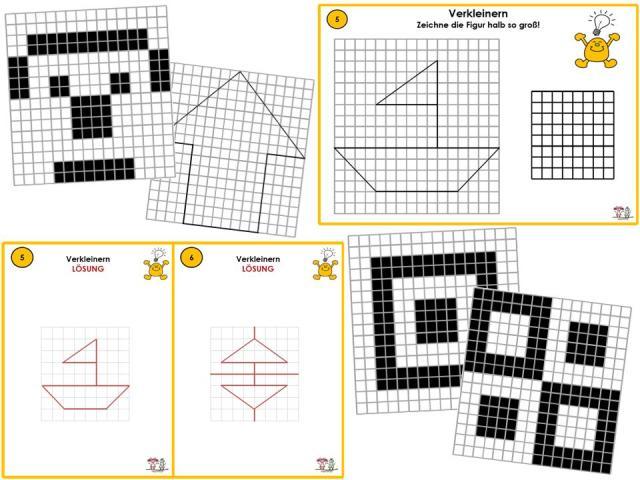 Unterrichtsmaterial, u00dcbungsblu00e4tter fu00fcr die Grundschule : Geometrie - Verkleinern und Vergru00f6u00dfern ...