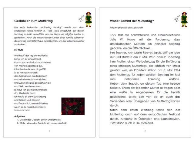 Unterrichtsmaterial bungsbl tter f r die grundschule for Muttertagsgeschenk grundschule