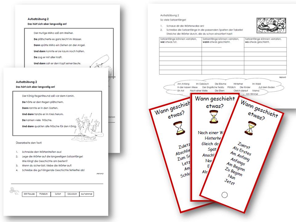 Unterrichtsmaterial, u00dcbungsblu00e4tter fu00fcr die Grundschule : Aufsatzerziehung 2 - Variation der ...