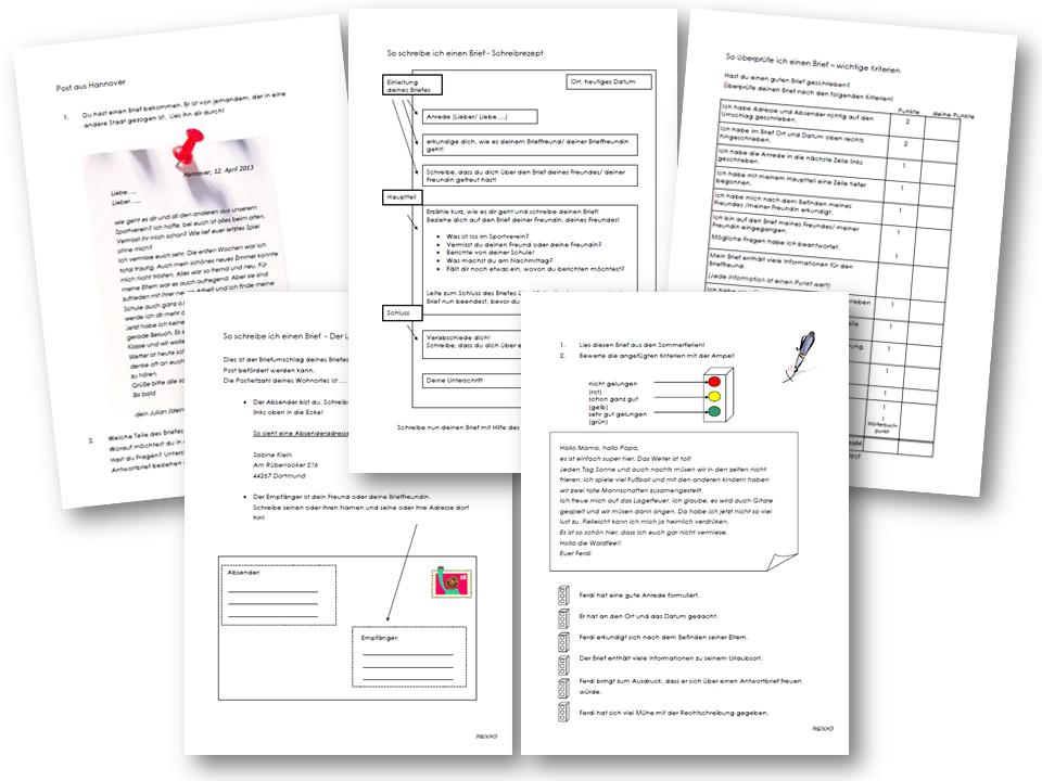 Unterrichtsmaterial, u00dcbungsblu00e4tter fu00fcr die Grundschule : Aufsatzerziehung 5 - Brief : online ...