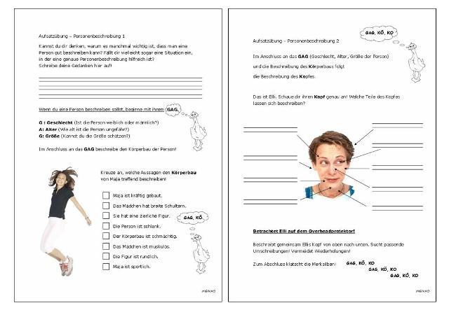 53 Arbeitsblatt Grundschule Personenbeschreibung