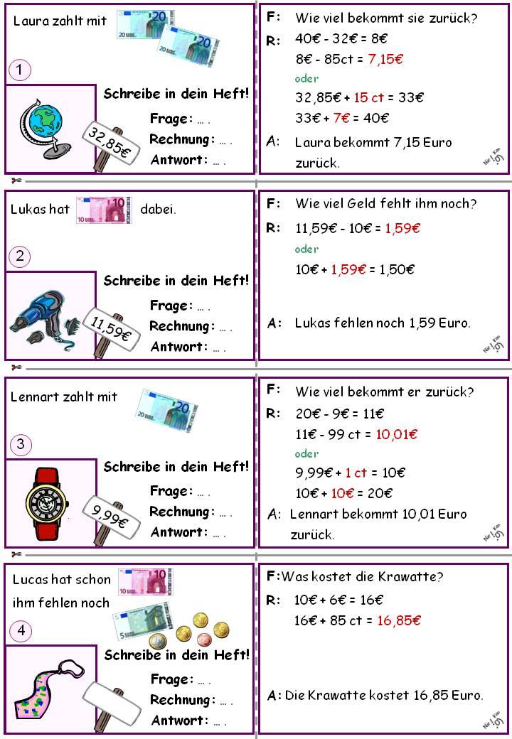 Arbeitsblatt Mathe Rechnen Mit Geld : Unterrichtsmaterial Übungsblätter für die grundschule