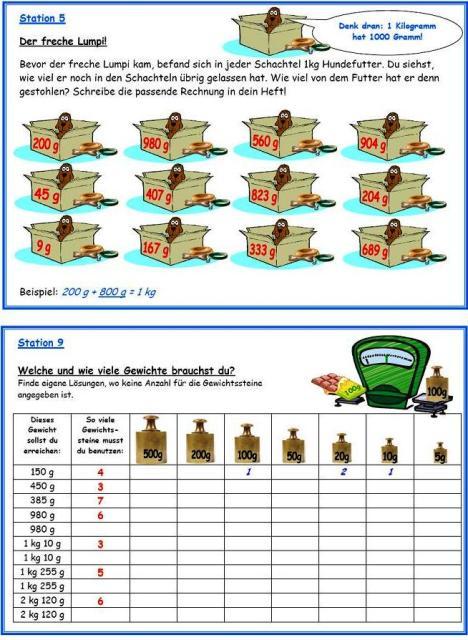 unterrichtsmaterial bungsbl tter f r die grundschule werkstatt gewichte 1 kompetenzen. Black Bedroom Furniture Sets. Home Design Ideas