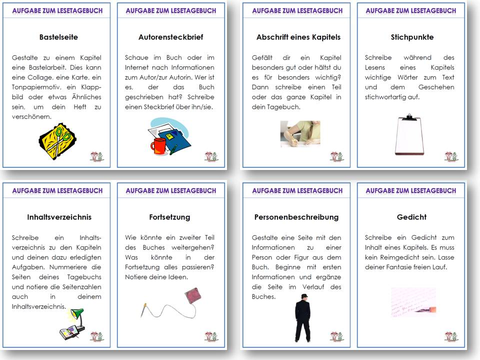 Unterrichtsmaterial, u00dcbungsblu00e4tter fu00fcr die Grundschule : Lesetagebuch : online bestellen bei ...