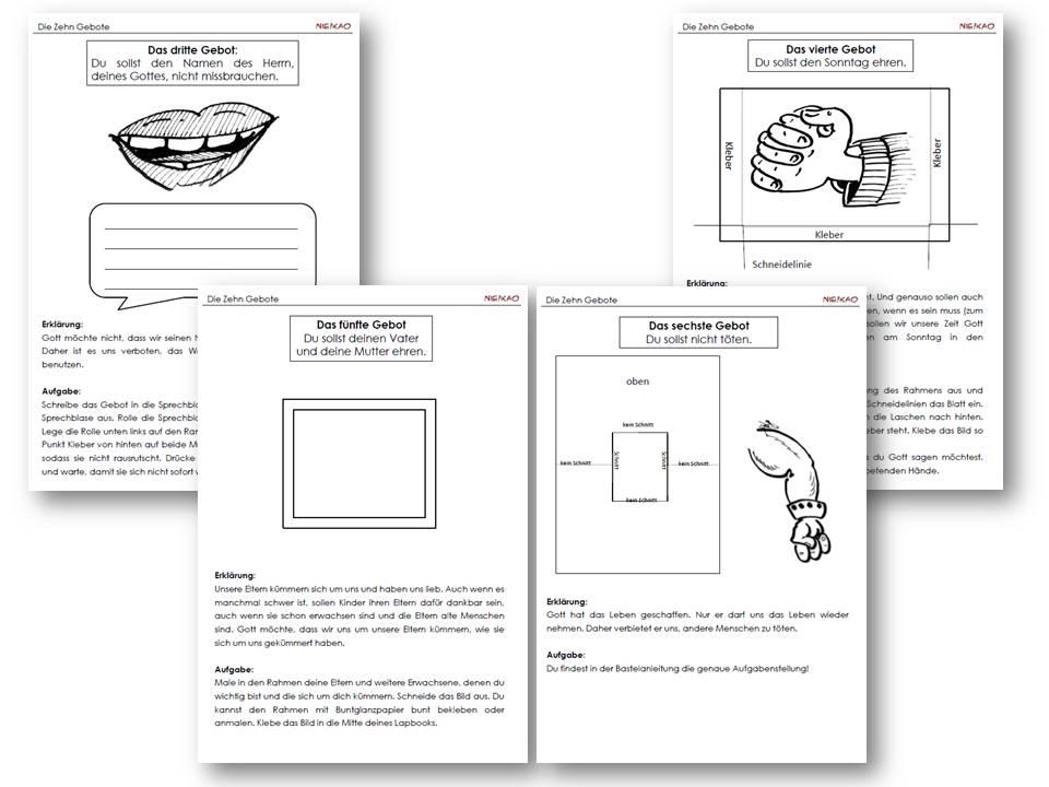 unterrichtsmaterial bungsbl tter f r die grundschule religion lapbook die zehn gebote. Black Bedroom Furniture Sets. Home Design Ideas