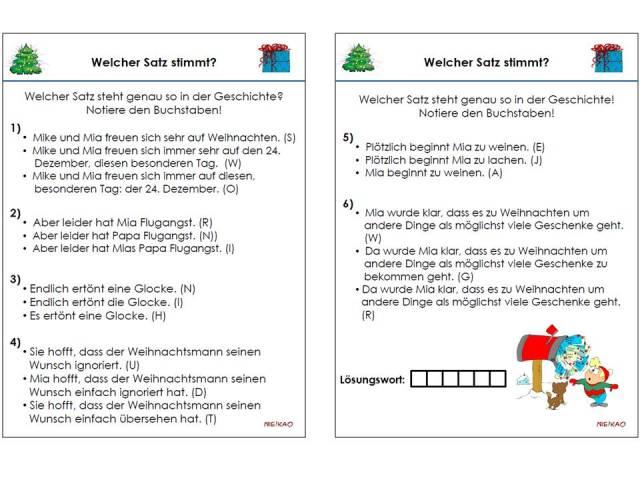 Unterrichtsmaterial, u00dcbungsblu00e4tter fu00fcr die Grundschule : Weihnachtsgeschichte Textverstu00e4ndnis ...