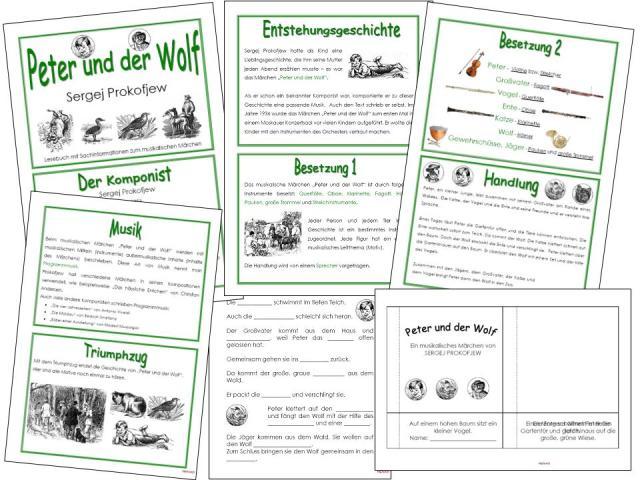 unterrichtsmaterial bungsbl tter f r die grundschule peter und der wolf ein musikalisches. Black Bedroom Furniture Sets. Home Design Ideas