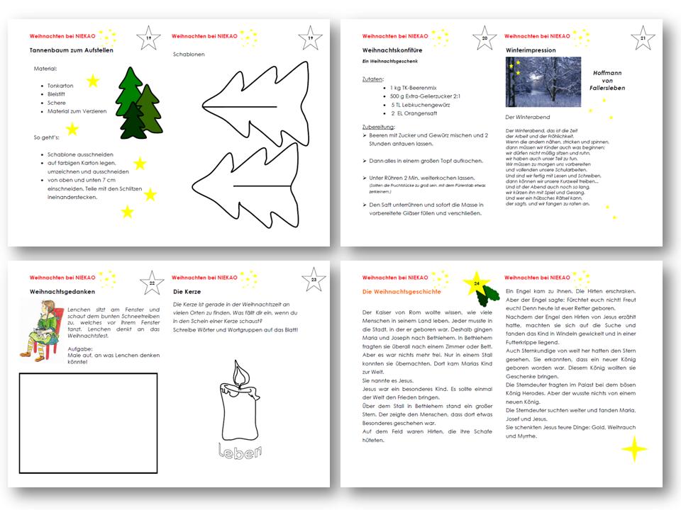 Unterrichtsmaterial, u00dcbungsblu00e4tter fu00fcr die Grundschule : Weihnachten - Ein Lese-Malblock ...