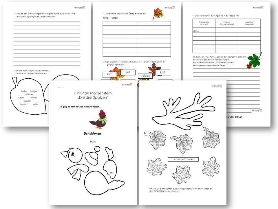 Unterrichtsmaterial, u00dcbungsblu00e4tter fu00fcr die Grundschule : Herbstwerkstatt ab Klasse 2 : online ...