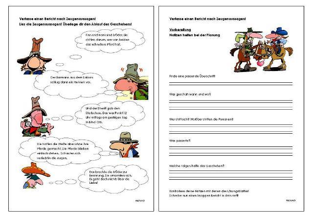 Deutsch Klasse Bericht Schreiben Uebung Ask Yenestas ...